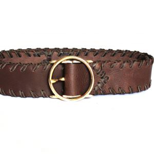 Lost Art Leather H Buckle Belt with brown leather whipstitching