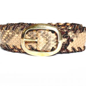 Lost Art Snakeskin Belt in natural with brass buckle