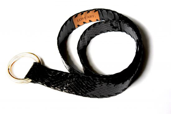 Lost Art Double Ring Python Belt in Black