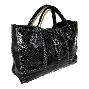 Lost Art Python skin Duffle bag in Black