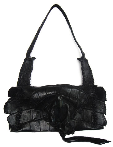 23241659e8e6 Lost Art™ Black Alligator handbag with a Leather Fringe and a Braided  Leather shoulder strap