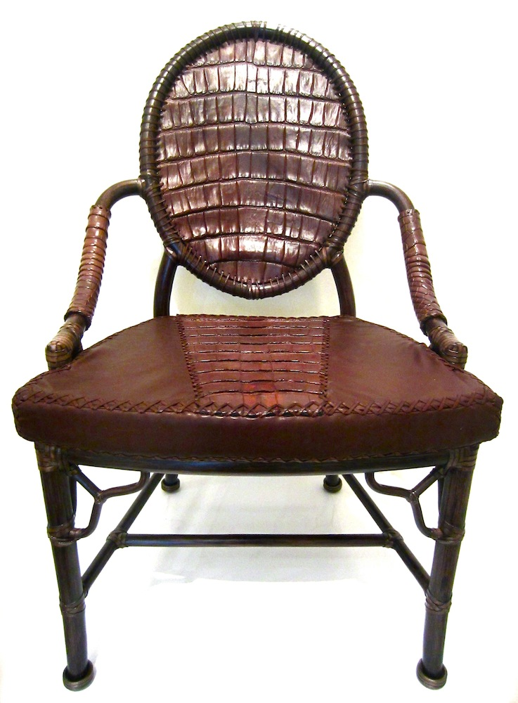 Lost Art Alligator Skin Chair With Leather Details Along With A Seat  Cushions Covered In Alligator Skin And Leather