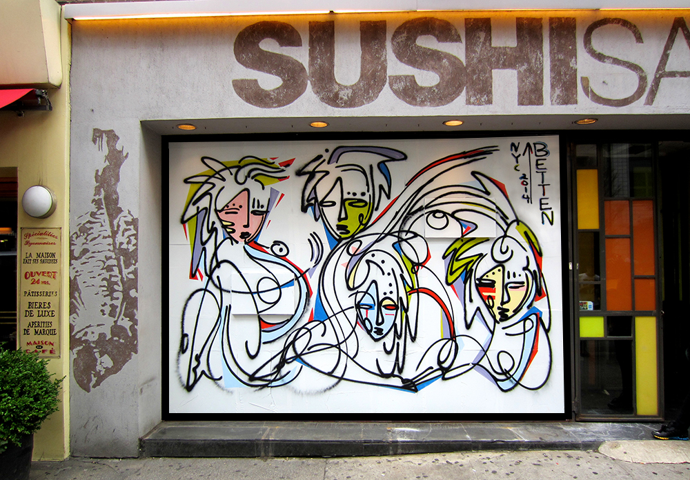 Sushi samba urban art mural painted by artist jordan for Call for mural artists 2014